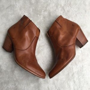Frye Brown Leather Zip Up Booties Size 9.5
